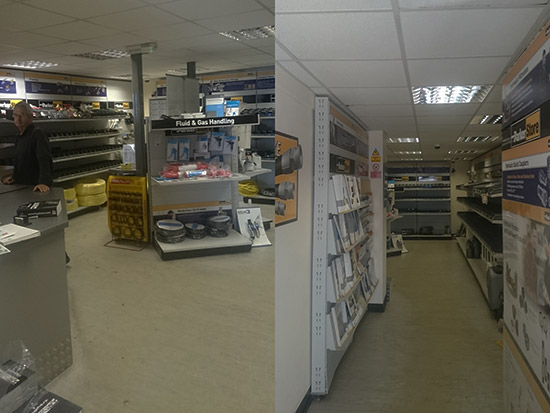 Trade Counter LED Lighting Case Study - Before
